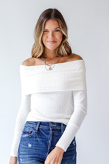 White - Off-The-Shoulder Knit Top Front View on model