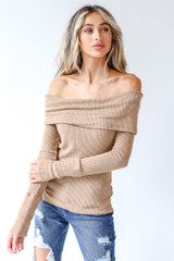 Camel - Model wearing an Off-The-Shoulder Knit Top with jeans