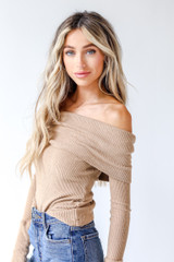 Camel - Dress Up model wearing an Off-The-Shoulder Knit Top with jeans