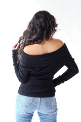 Off-The-Shoulder Knit Top in Black Back View