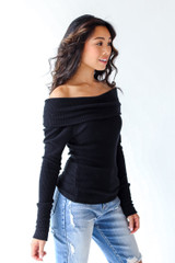 Off-The-Shoulder Knit Top in Black Side View