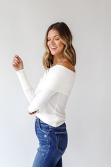 Off-The-Shoulder Knit Top in White Side View