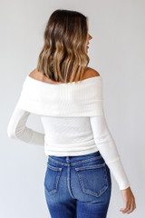 Off-The-Shoulder Knit Top in White Back View