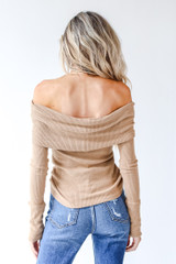Off-The-Shoulder Knit Top in Camel Back View