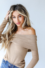 Off-The-Shoulder Knit Top in Camel Side View