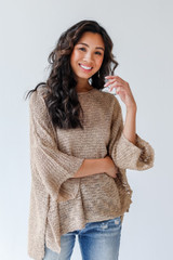 Taupe - Oversized Sweater Front View