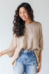 Taupe - Oversized Sweater Front View on model