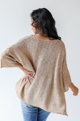 Oversized Sweater in Taupe Back View
