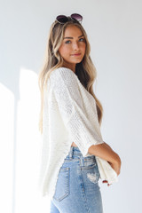 Oversized Sweater in Ivory Side View