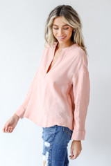 Linen Blouse in Blush Side View