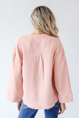 Linen Blouse in Blush Back View