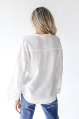 Linen Blouse in White Back View