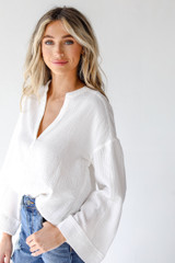 Linen Blouse in White Side View