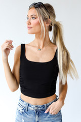 Black - Ruched Cropped Tank