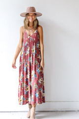 Floral Maxi Dress Front View on model