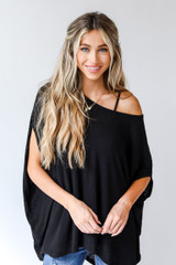 Black - Ribbed Knit Tunic from Dress Up