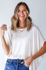 Ivory - Model wearing a Ribbed Knit Tunic