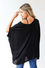 Ribbed Knit Tunic in Black Back View