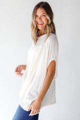 Ribbed Knit Tunic in Ivory Side View