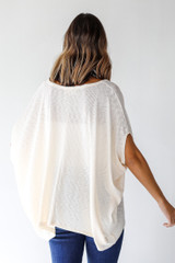 Ribbed Knit Tunic in Ivory Back View