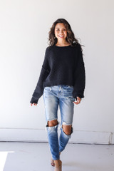 Sweater in Black Front View