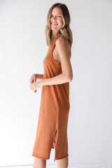 Ribbed Midi Dress in Rust Side View