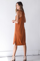 Ribbed Midi Dress in Rust Back View