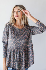 Charcoal - Floral Babydoll Top