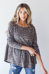 Charcoal - Floral Babydoll Top from Dress Up