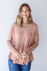 Camel - Model wearing a Floral Babydoll Top