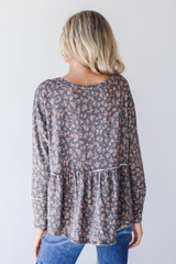 Floral Babydoll Top in Charcoal Back View