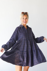 Navy - Flannel Babydoll Dress from Dress Up