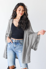 Olive - Dress Up model wearing a Loose Knit Cardigan with jeans
