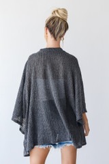 Loose Knit Cardigan in Charcoal Back View