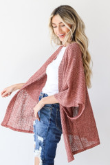 Loose Knit Cardigan in Mauve Side View