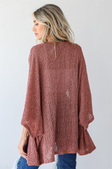 Loose Knit Cardigan in Mauve Back View
