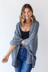 Loose Knit Cardigan in Denim Front View