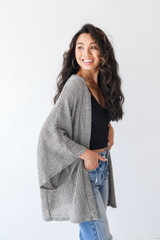 Loose Knit Cardigan in Olive Side View