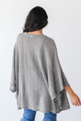 Loose Knit Cardigan in Olive Back View