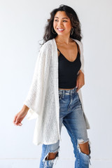 Loose Knit Cardigan in Ivory Side View