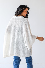Loose Knit Cardigan in Ivory Back View