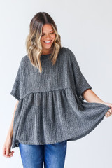 Charcoal - Loose Knit Babydoll Top from Dress Up