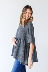 Loose Knit Babydoll Top in Charcoal Side View