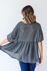 Loose Knit Babydoll Top in Charcoal Back View