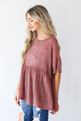 Loose Knit Babydoll Top in Wine Side View