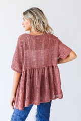 Loose Knit Babydoll Top in Wine Back View
