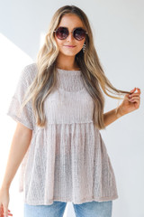 Taupe - Loose Knit Babydoll Top Front View