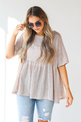 Taupe - Loose Knit Babydoll Top Front View on model
