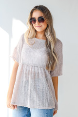 Loose Knit Babydoll Top in Taupe Side View
