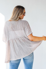 Loose Knit Babydoll Top in Taupe Back View